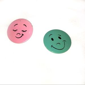 Jewelry - Vintage Happy Face Buttons / Pins Pink & Blue